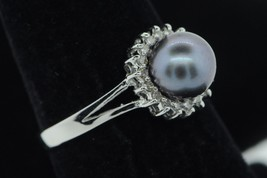 Designer CSL 14K White Gold Tahitian Pearl Diamond Halo Ring (Size 6 3/4) - $285.00