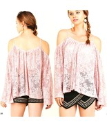 Umgee Top Size XL S M L Cold Shoulder Long Sleeve Tunic Shabby Womens Sh... - $30.99