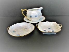 Vintage LIMOGES Iridescent Lustreware China Haviland Hand-Painted Blue B... - $59.70