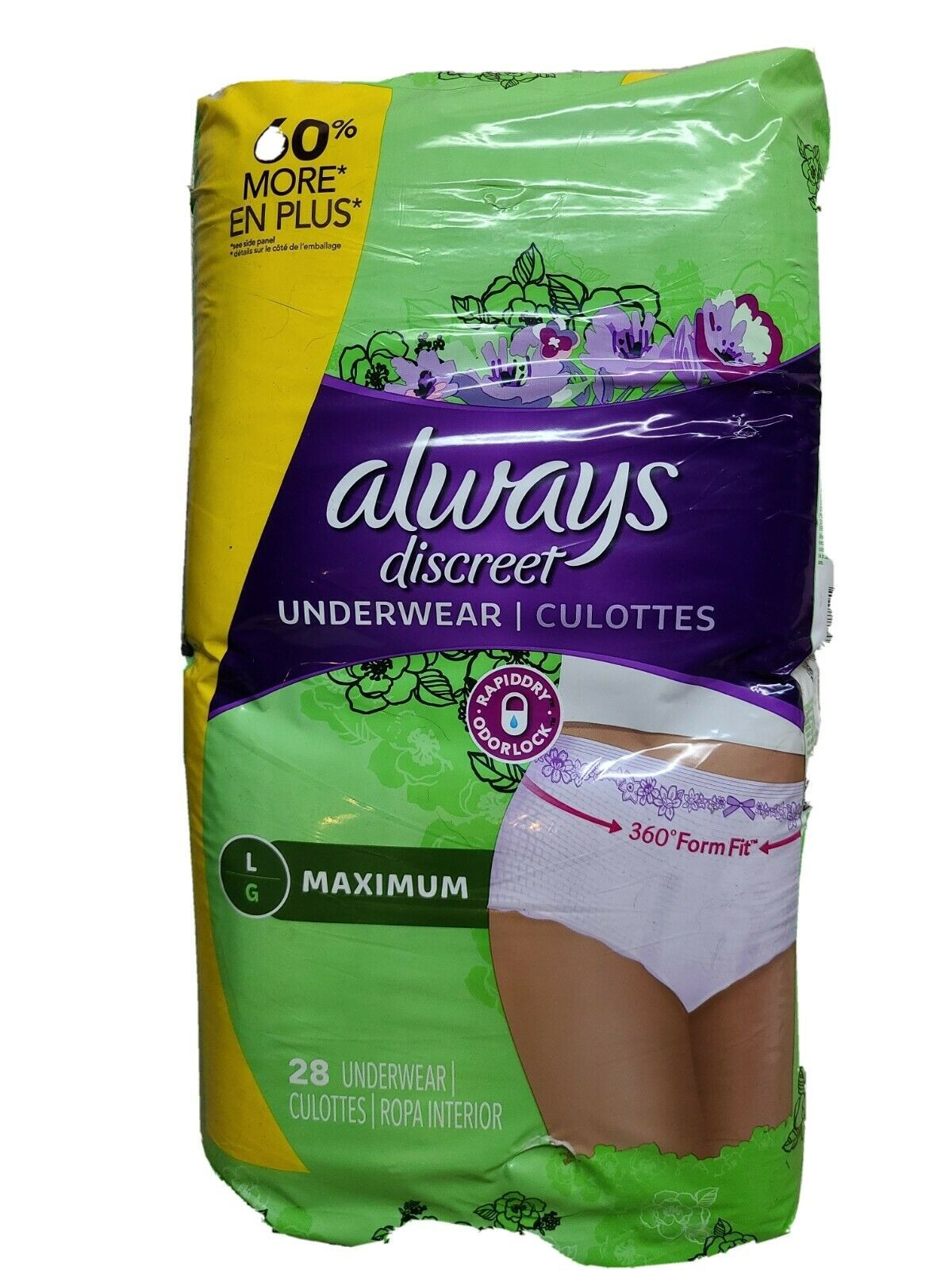 Always Discreet Maximum Absorbency Incontinence Underwear Women Size Large 28 Ct - $34.54