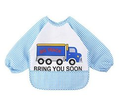 Cartoon Car Waterproof Baby Bib Kids Painting Smock BLUE, 1-3 Years