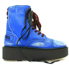 DIESEL D-Cage Womens Leather Combat Boots Royal Blue Size 9 NEW AUTHENTIC - $94.99