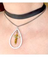 black choker, dragon fly necklace, multistrand choker, statement necklac... - $19.99