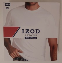 3 GENUINE IZOD MENS 2XL 3XL 4XL 100% COTTON WHITE CREW NECK T SHIRTS UND... - $29.90