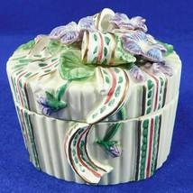 """Fitz and Floyd Violets Trinket Box Oval Porcelain 3.5"""" - $17.50"""