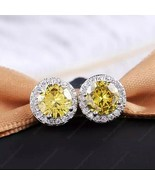 2.5 Carat Round Yellow Citrine Halo Ear Jacket Stud 925 Sterling Silver ... - $70.55