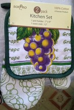 "2 pc Set PRINTED Pot Holder & Oven Mitt (12"") by SofPRO, GRAPES, green back - $7.91"