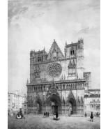 FRANCE Lyon Main Square & Saint John Cathedral - SUPERB 1843 Antique Print - $39.60