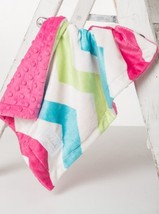 Hot Pink Chev/Fushia Bump By Baby Laundry Minky Cuddle Lovey BLANKET-Qty 1 - $14.79