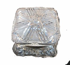 ABP Crystal Cut Glass covered square dresser box - $176.37