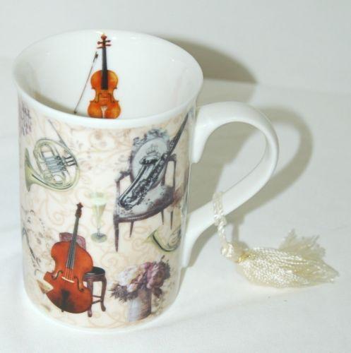 Aim Gifts Music Mug  French Horn Violin Saxophone Upright Bass