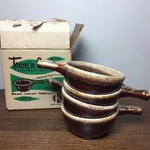 Lot of 4 Vtg FRENCH SOUP BOWLS Brown Drip Glaze Kathy Kale USA McCoy Ori... - $46.74