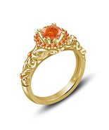 Orange Sapphire Princess Womens Engagement Ring 14k Gold Over 925 Silver - £53.45 GBP