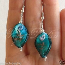 Peacock Green Lampwork Drop Teardrop Earrings 925 Sterling Silver Hooks - $7.48