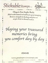 """Stickable Stamps """"Hoping your treasured memories..."""" Sentiment Stamp"""