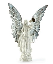 """20.4""""  Glittering White Angel with Metal Horn and Large Silver Metal Wings"""