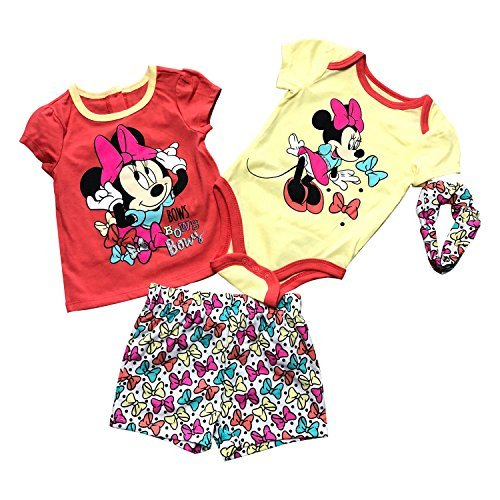 Primary image for Disney Minnie Mouse 4 Pieces Baby Girls Clothing Set,100% Cotton(5 Differents St