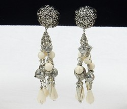Vintage Costume Jewelry, Silver Tone & Ivory Look Clip On Dangle Earring... - $6.81
