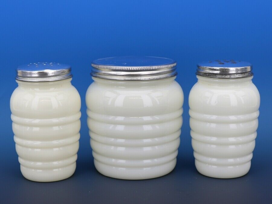 Vintage Fire King Behive Ivory Range Shakers and Grease Jar