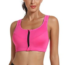 WOWENY Zip Front Sport Bra for Women High Impact Workout Gym Bra Padded ... - $14.53