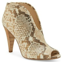 Vince Camuto Snake Print Leather Peep Toe Booties, Multi Sizes Desert S VC-AMBER - $99.95