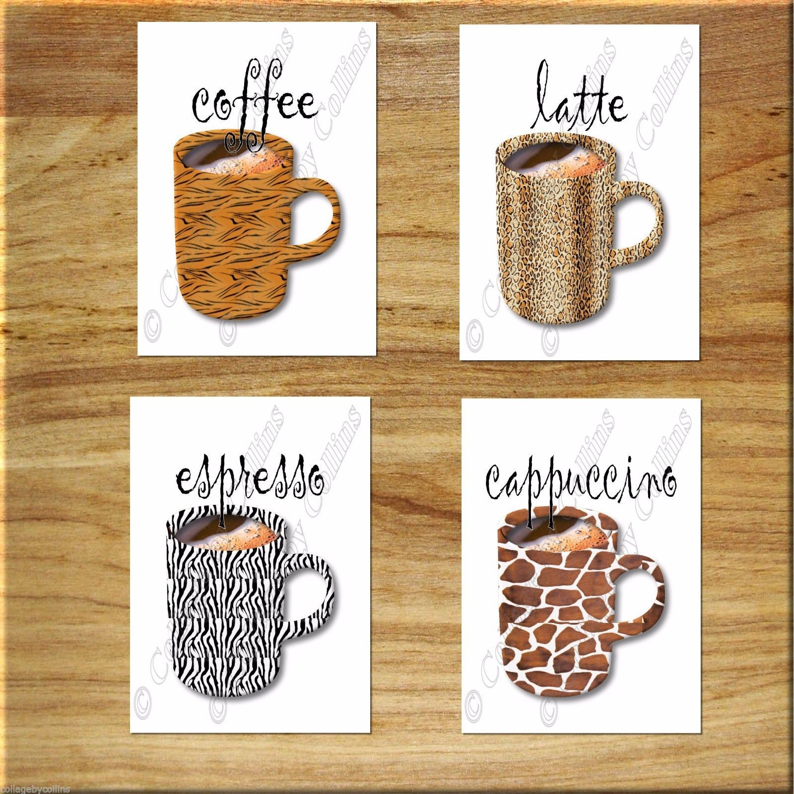 Primary image for Kitchen Coffee Wall Art Decor Leopard Zebra Tiger Giraffe Print Mugs Cups Latte