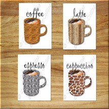 Kitchen Coffee Wall Art Decor Leopard Zebra Tiger Giraffe Print Mugs Cup... - $13.96