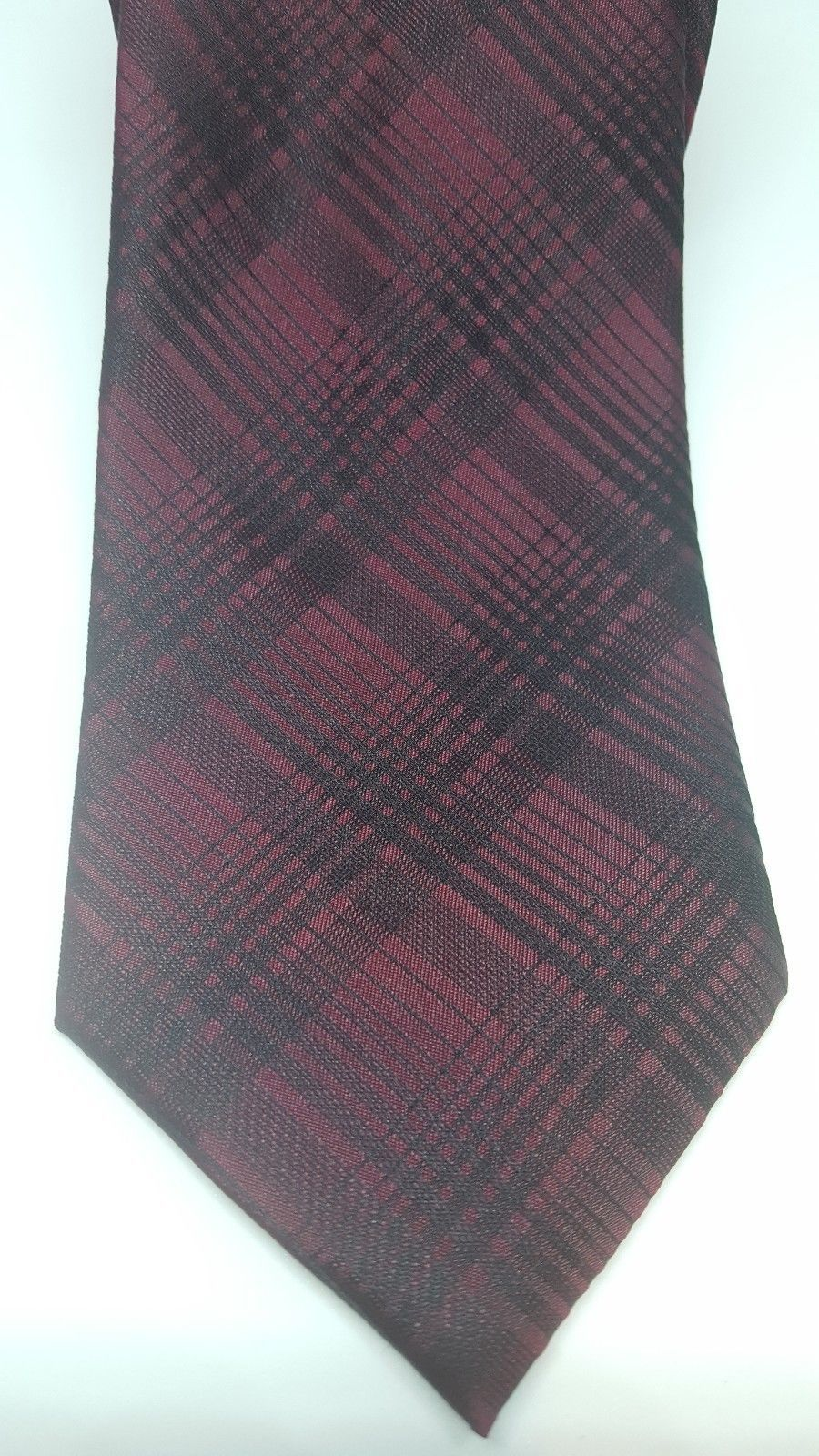 NEW Reaction Kenneth Cole Men's Classic Neck Tie Dressy Grid Burgundy/Black