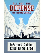 Wall Decor Poster.Home Room art design.All out for defense of Democracy.... - $10.89+