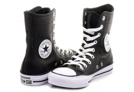 Converse Black Leather Hi-Rise 9-Eye Ankle Calf Boots / Shoes Wms 9 or 10 NWOT - $78.99