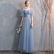 Bridesmaid Dress Off Shoulder Sweetheart Tulle Empire Dress Floor Length Wedding image 8