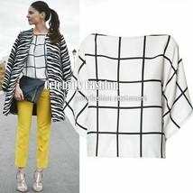 Celebrity Style Short Sleeve Windowpane Grid Print Chiffon Tank Top AU 6... - $16.99