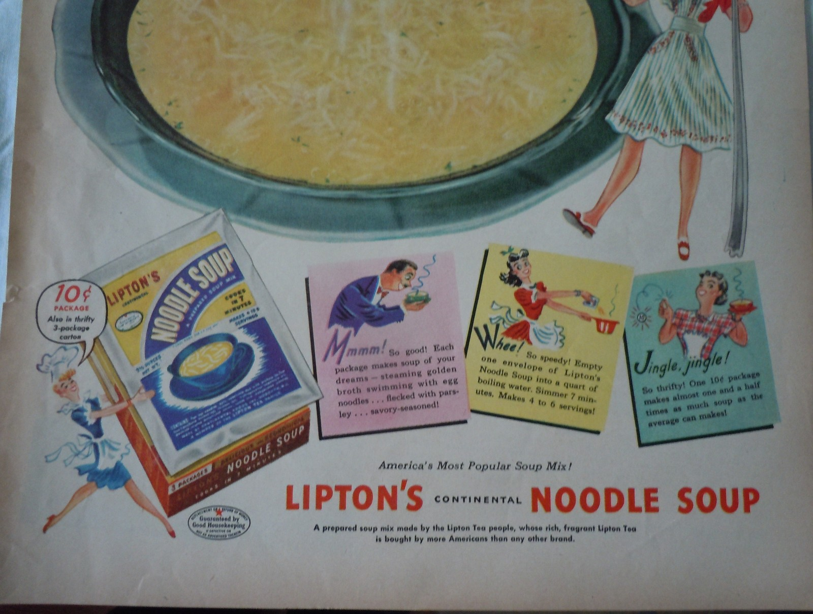 LIpton's Continental Noodle Soup Advertising Print Ad Art 1940s  image 3