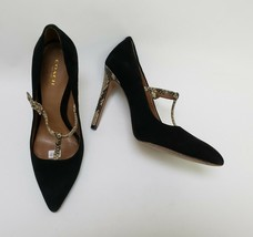 Coach Womens Shoes Heels Pumps T-Strap Suede Snakeskin Pattern Fulton Size 8.5B - $89.05