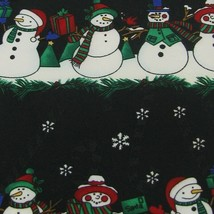 Hallmark Christmas Snow Man Holiday Tree Black White Grn Tie Necktie X6-91 New - $19.79