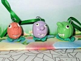 PUMPKIN CHARMS ooak ornaments Lot of 3 pendants mini green Halloween fun... - $5.69
