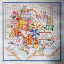 Victorian Sewing Basket - Bucilla Counted Cross-Stitch Kit © 1990 - $12.99