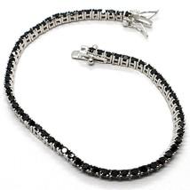 Bracelet Tennis, Argent 925, Zirconia Cubique Noirs, Taille Brillant, 2 Mm - $39.46+