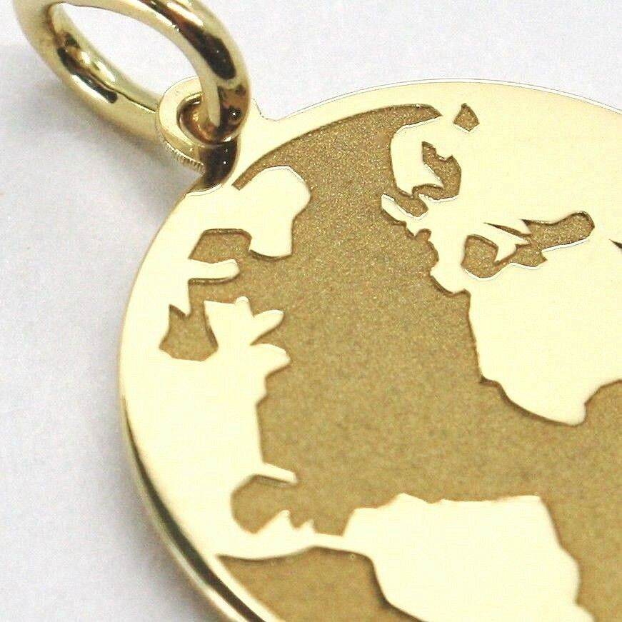 Yellow Gold Pendant 750 18K, Globe Flat, Satin, 16 mm, Italy Made image 3