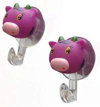 PANDA SUPERSTORE Set of 4 Cute Cartoon Sucker Hook Creative Bathroom Hook Purple