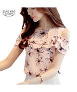 2017 Women Off Shoulder Short Sleeve Blouses Print Floral Chiffon Shirts... - $17.80