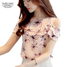 2017 Women Off Shoulder Short Sleeve Blouses Print Floral Chiffon Shirts... - $17.80