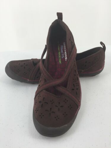 Skechers Womens 8M Shoes Wedge Wine Color Memory Foam image 1