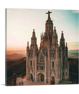 ARTCANVAS Cathedral in Barcelona Spain Square - $41.99+