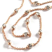 """18K ROSE & WHITE GOLD ROLO ALTERNATE CHAIN NECKLACE 3mm FACETED OVAL BALLS 18"""" image 3"""