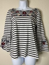 J. Crew Womens Size S Striped Floral Embroidered Blouse Long Bell Sleeve - $17.82