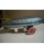 LARGE TIN TOY WORKING BLIMP TIN TOY WIND-UP WITH PROPELLOR  - $64.35