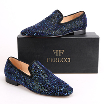 Men FERUCCI  Blue Crystal GZ Rhinestone Slippers Loafers Flats - $199.99