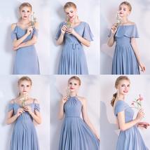 BLUSH Chiffon Bridesmaid Dresses Blush Pink Spaghetti Cap Sleeve Maxi Prom Dress image 9