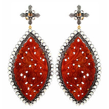 Carved Onyx Gemstone 14k Gold Studded Diamond Dangle Earrings 925 Silver... - $1,172.05